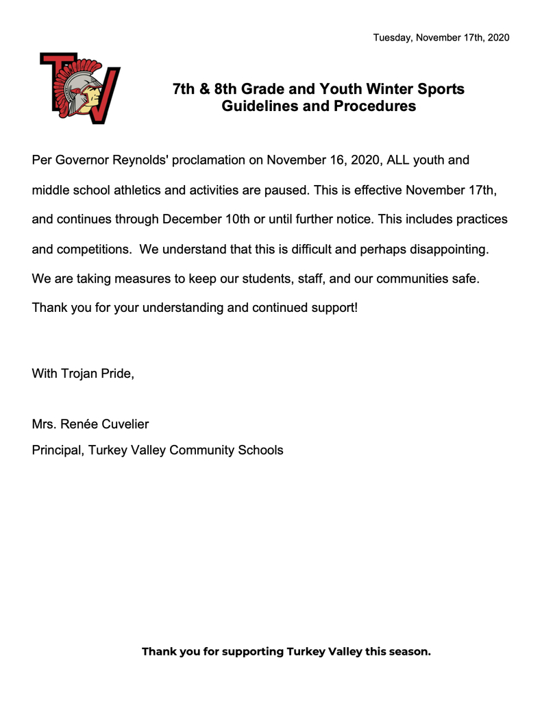 Winter Sports/Activities Guidelines 11.17.20