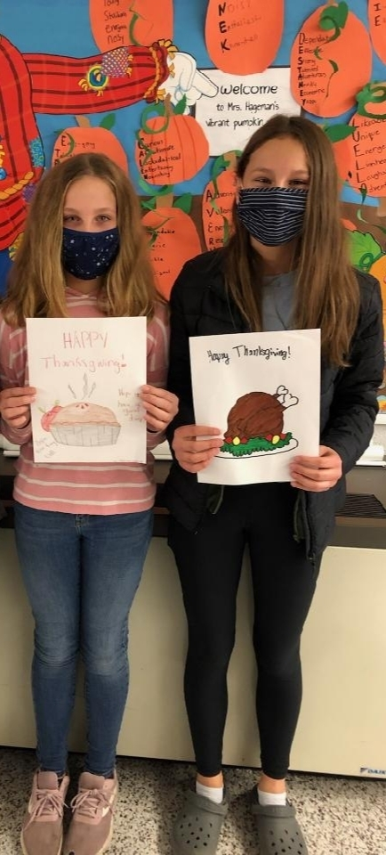 7th grade Thanksgiving cards, Nov. 2020
