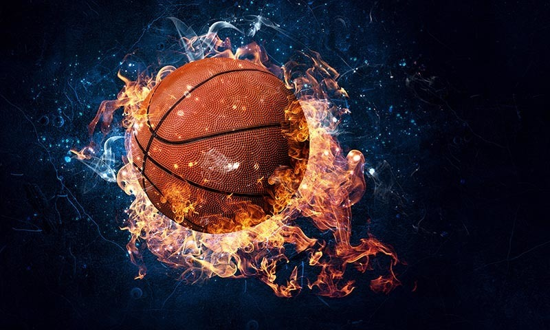 Basketball jpg with fire